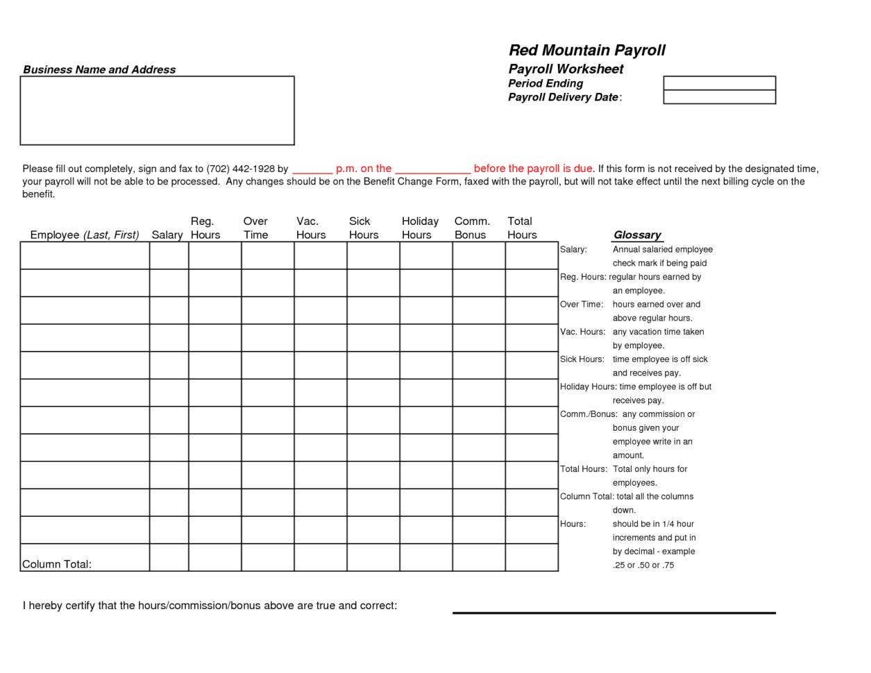 Payroll Spreadsheet Template Spreadsheet Templates For