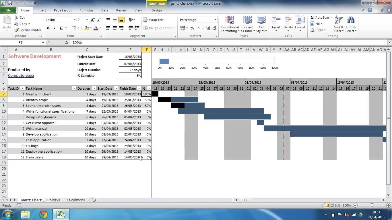 Excel Spreadsheet Gantt Chart Template Gantt Chart Spreadsheet Spreadsheet Templates For Busines