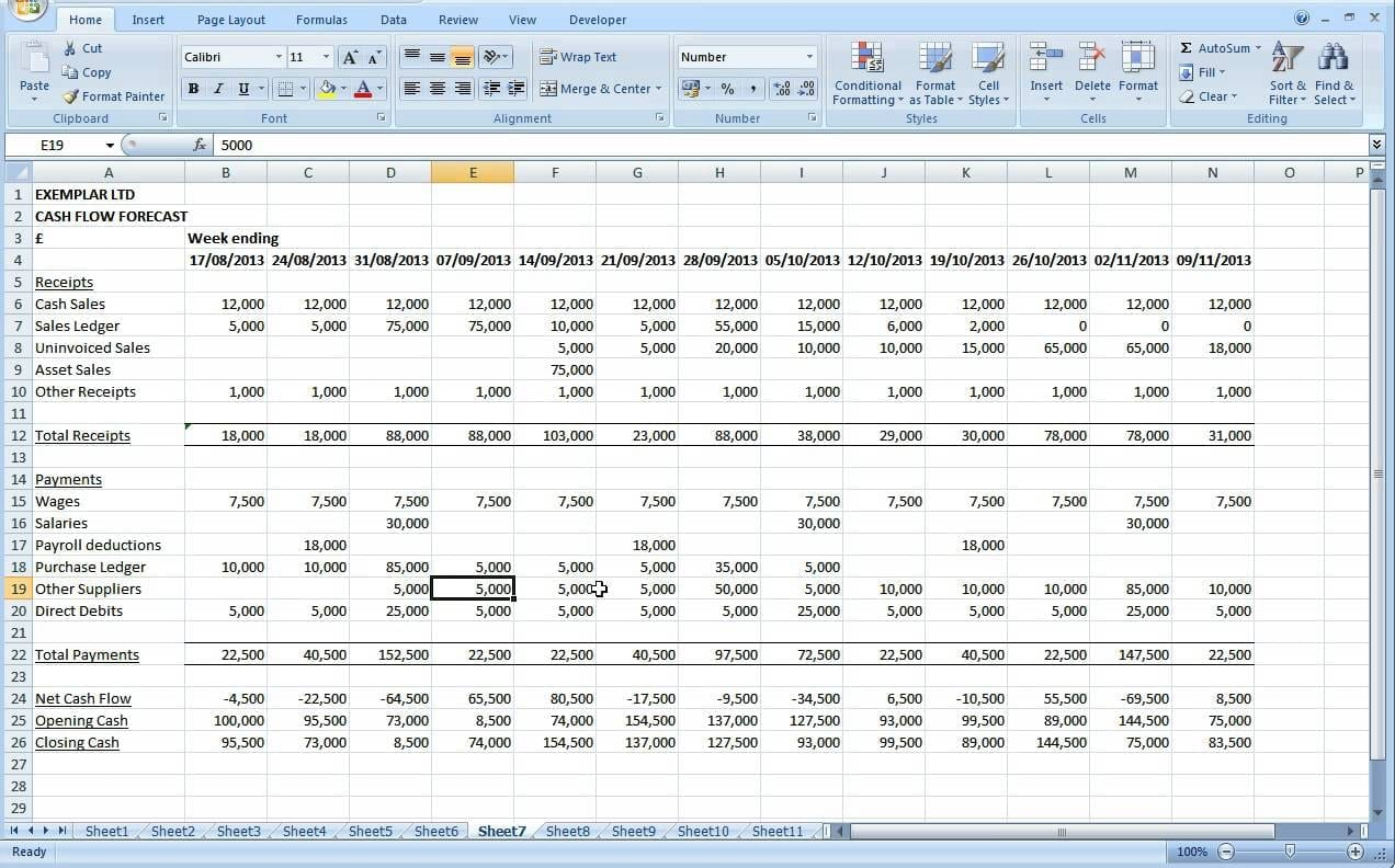 Cash Flow Excel Spreadsheet Template Cash Flow Spreadsheet Spreadsheet Templates For Busines