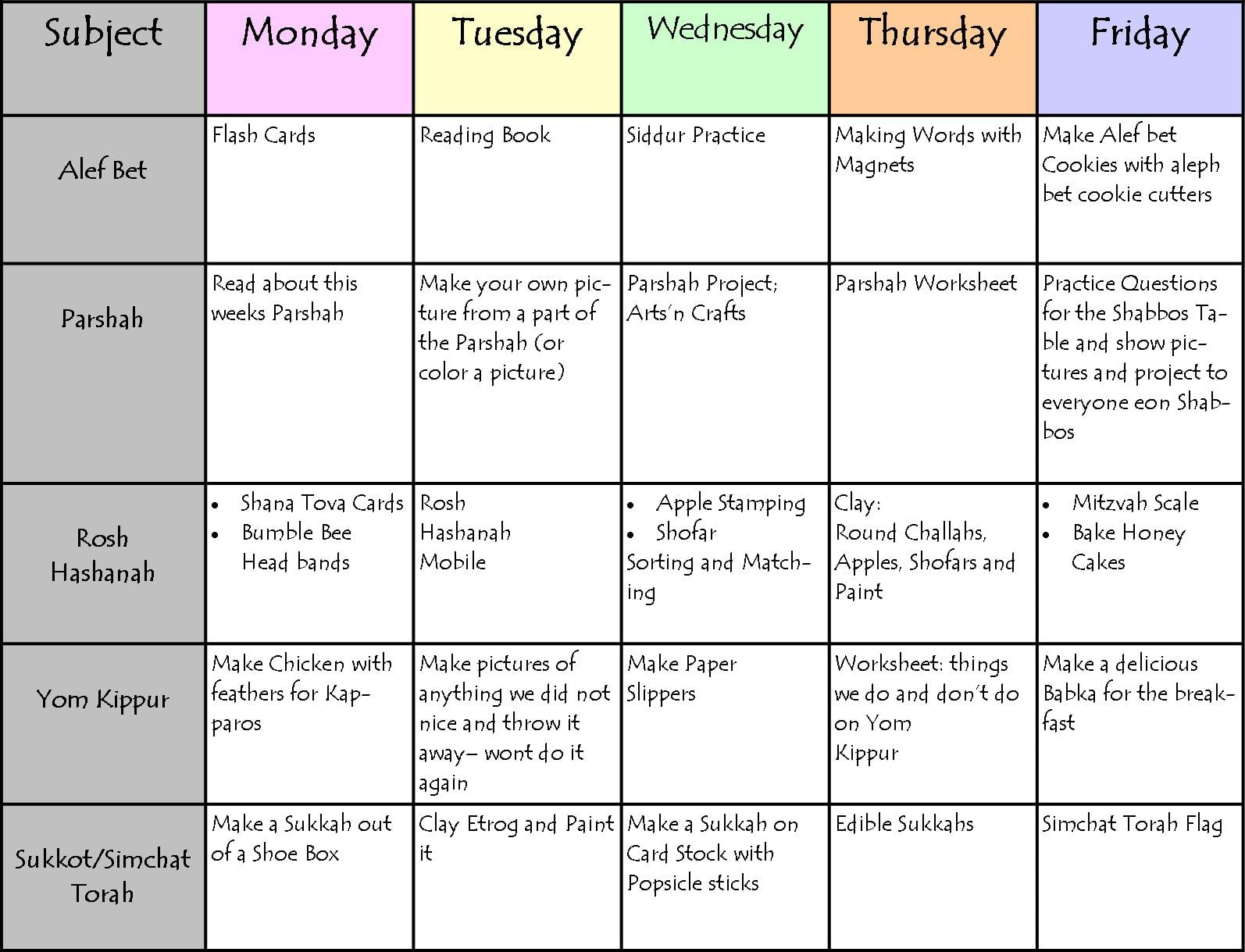 Schedule Spreadsheet Template