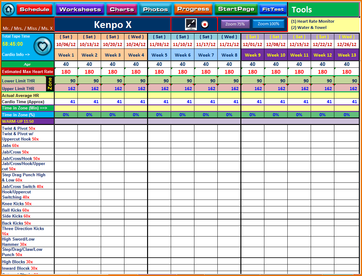 Training Spreadsheet Template Training Spreadsheet