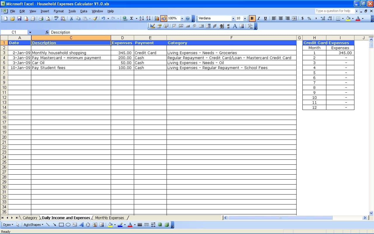 Monthly Business Expense Template 1 Expense Spreadsheet