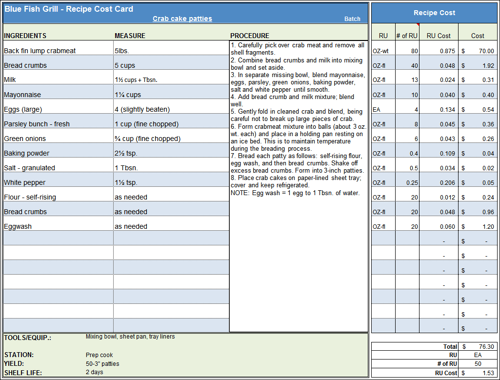 Costing Spreadsheet Template