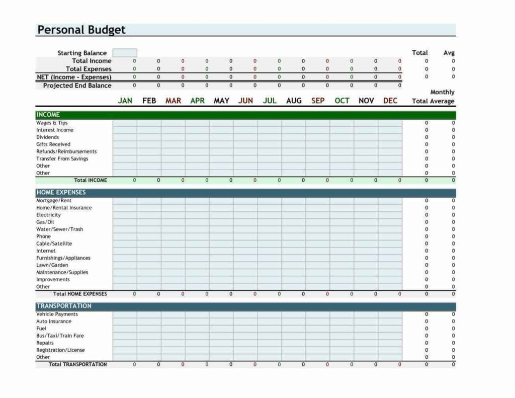Budget Excel Spreadsheet Free Download 1