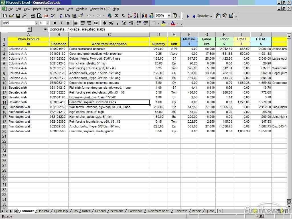 Cost Estimate Spreadsheet Template Costysis