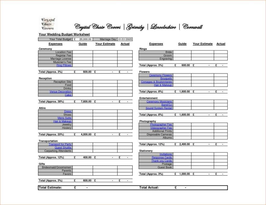Sample Wedding Budget Spreadsheet Wedding Spreadsheet