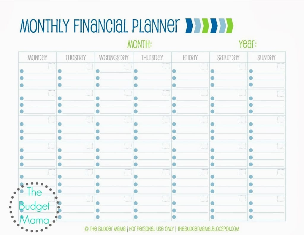 Monthly Financial Planning Worksheet