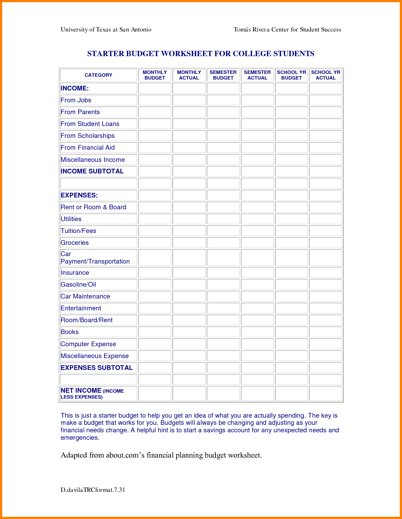 College Budget Template Spreadsheet Templates For Busines