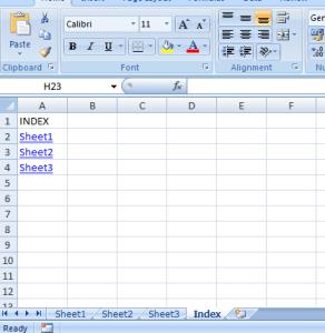 Create index in Excel