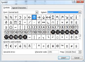 Excel Symbols