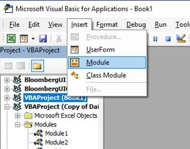 Excel VBA Editor - New Module