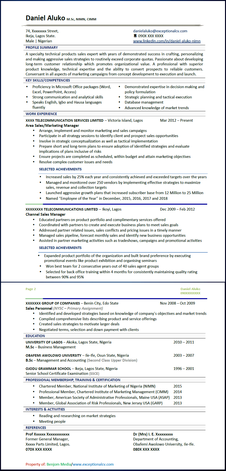 Exceptional CV Sample