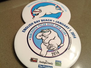 Polar Bear Swim 2014, 2013 badges copyright Shelagh Donnelly