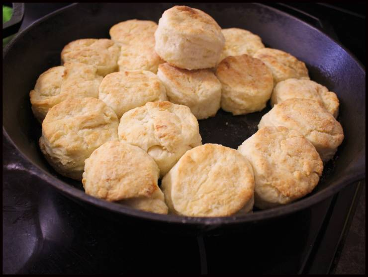 Buttermilk biscuits in a cast iron skillet