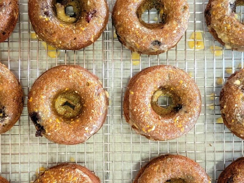 Baked Blueberry Donuts with Orange Honey Glaze