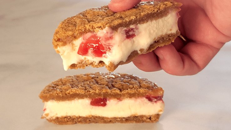 Cross Section of an Strawberry Cheesecake Ice Cream Sandwich
