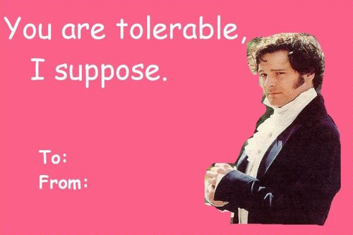 Image of a Valentine's Day card featuring Darcy