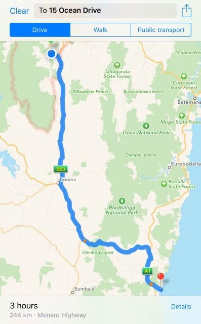 Canberra to Merimbula Navigation