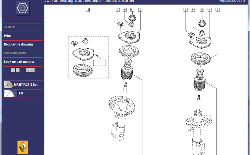 Renault Megane GT220 Front Suspension – Parts Diagrams 2