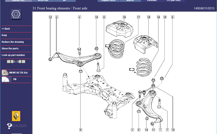 Renault Megane RS265 Front Suspension – Parts Diagrams 1