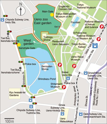 Ueno Zoo Access Map