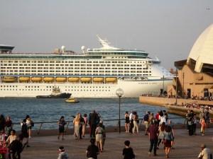 Sydney Harbor area with cruise ship