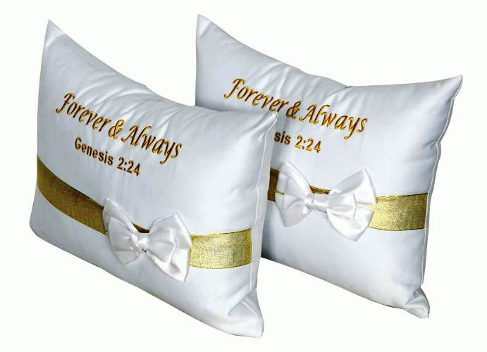 gold silver band set of 2 wedding kneeling prayer church pillow with a message