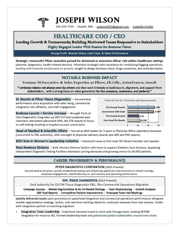 Sample Healthcare CEO & COO Resume
