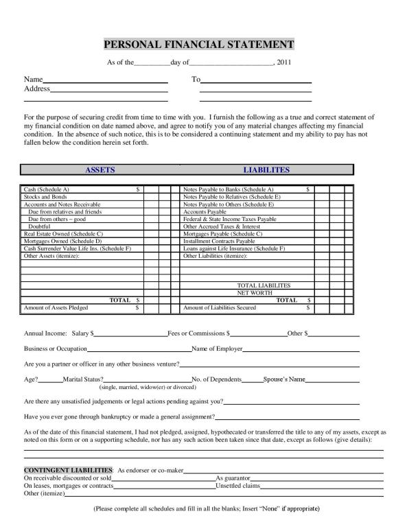 Personal Financial Statement Word Template