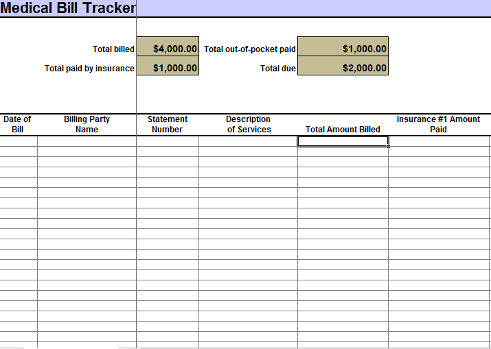 Printable Medical Expenses Tracking Spreadsheet
