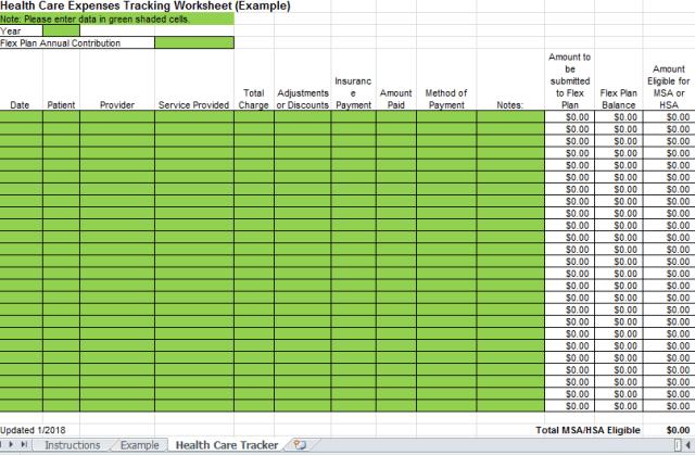 Medical Tracking Spreadsheet