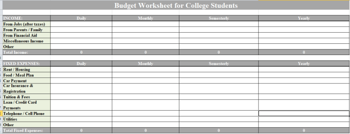 Budget Worksheet for Collage Students