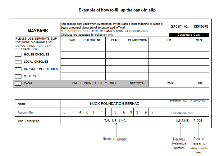Bank Deposit Slip Template