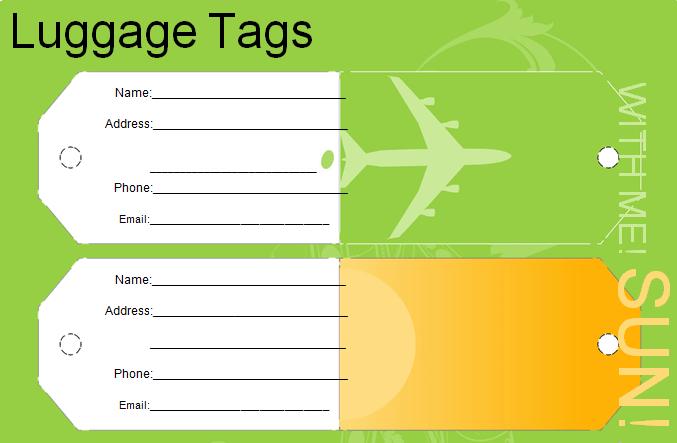 Editable Luggage Tag Template