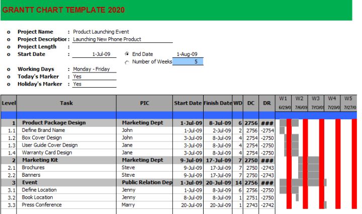 Gantt Chart Template in Excel