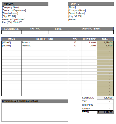 Purchase Order Template in Excel