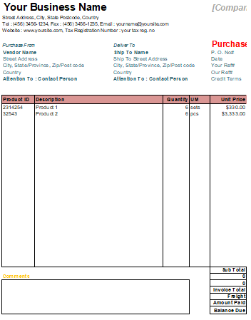 Purchase Order Template in Excel 5+ Free