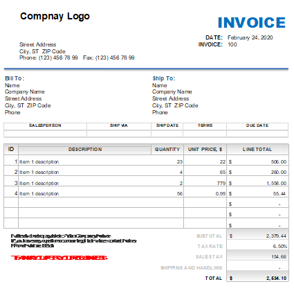 Template of Sales Invoice