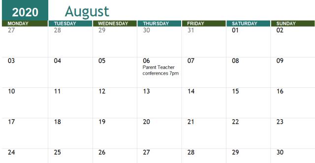 Free Printable Academic Calendar Templates 2020