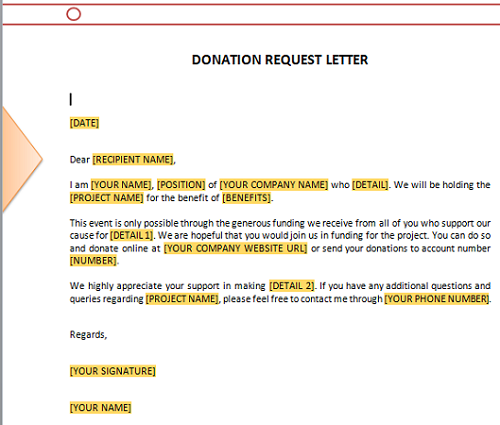 Free Request For Donation Letter
