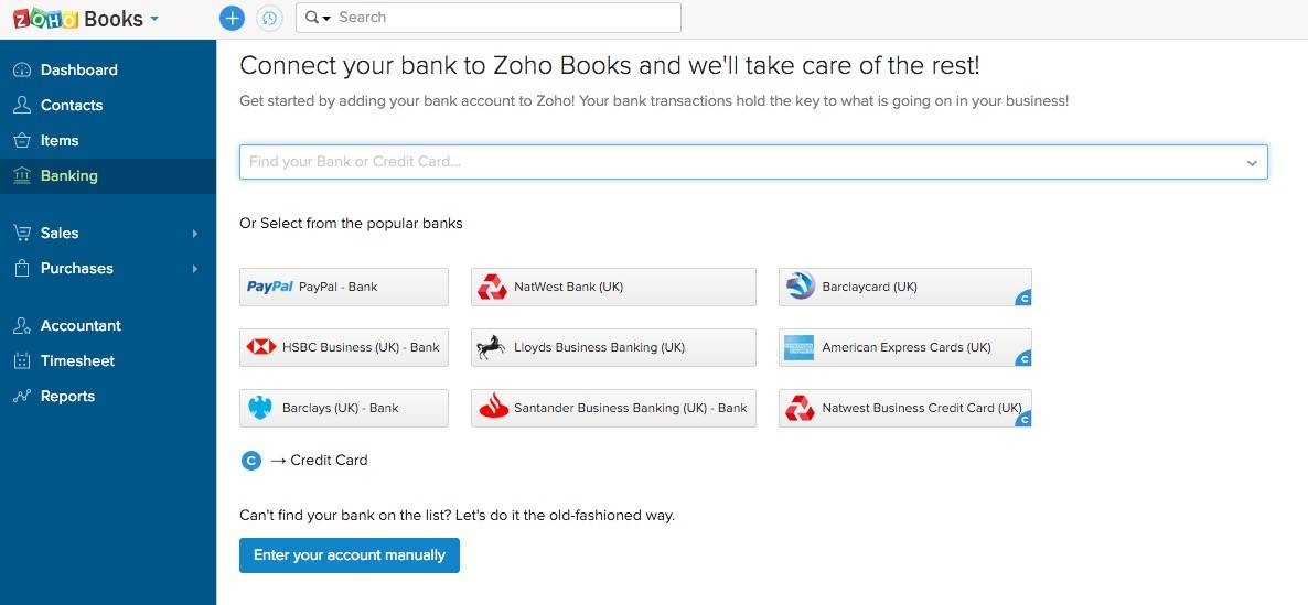 Bank and Credit Cards with Zoho Books