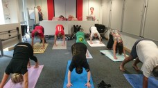 Yoga session for staff at TfL