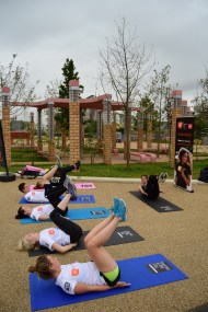 Teaching Pilates at the Olympic Park for National Fitness Day.