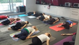 Pilates class for staff at Girlguiding head office
