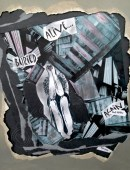 Figure hunched down head in arms,, grey building materials (walls, wood) around her. Words 'buried' 'alive' 'again' on it (collage)