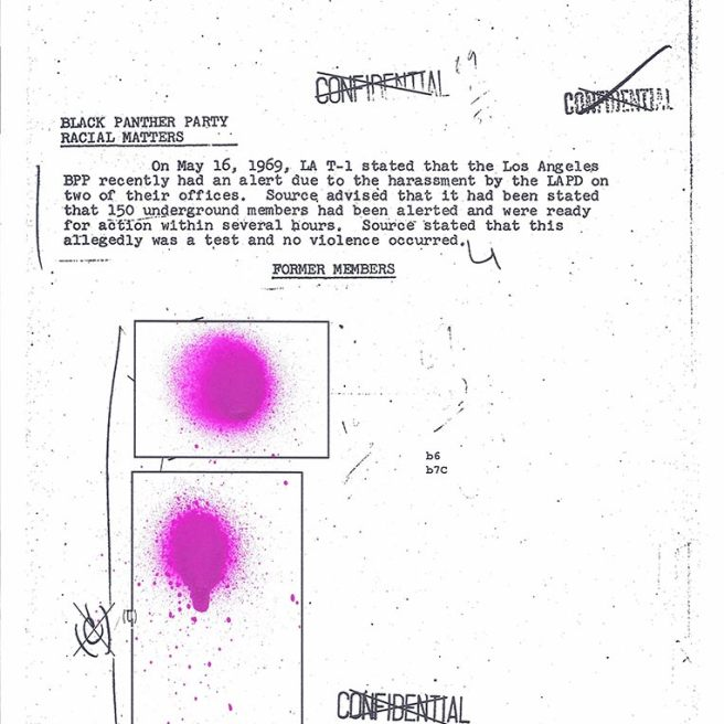 A document discussing the Black Panther Party, sections spraypainted in purple