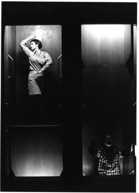 "Lindy Annis (American, 1960–) Still from ""Paternoster Trilogy (Part II), 1991 Performative Installation for 17 Figures and a Circulating Elevator Photographs by Holger Schnaars Collection of the Artist"
