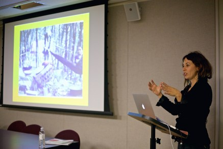 Artist Shira Walinsky talks about her work at the Transforming Division panel.