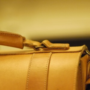 Satchel stitching detail, photo with new Canon 50mm f1.8 lens