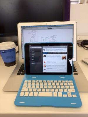 Macbook and iPad mini in keyboard case